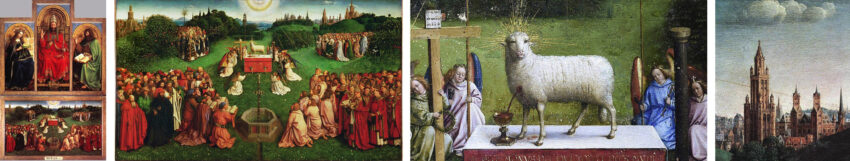 The Ghent Altarpiece (selected details), Hubert and Jan Van Eyck (1418-1432): Paradise depicted as City and Garden